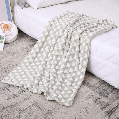 Плюшевые коричневые сердца оптом теплое веерное вязаное детское одеяло