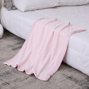 Knitted baby Blankets Wholesale Double-Layered Dotted Backing with Satin Cuddly Printed Blanket