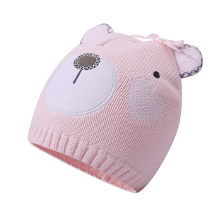 Wholesale Girls Knitted Hats Infant Newborn Toddler Cute Earflap  Beanie Hat