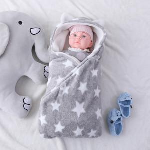 Mantas de bebé tejidas reciclables de doble capa polar con manta impresa estrella al por mayor