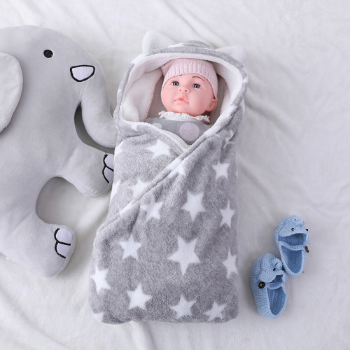 Wholesale Knitted Baby Sleeping Bag Knitting Pattern Double-Layered Fleece with Star Printed