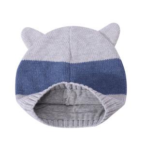 Оптовые вязаные шапки для новорожденных мальчиков и девочек с ушками от китайского поставщика