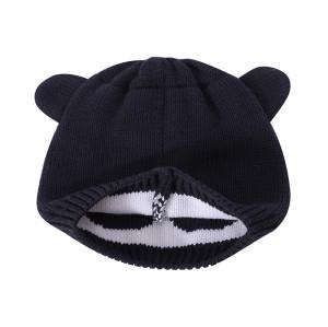 Оптовые трикотажные детские шапки для новорожденных, очаровательные хлопковые шапочки с ушками медведя