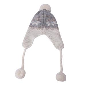 OEM женская вязаная шапка оптом с защитой от пиллинга Зимняя шапка с клапаном для ушей с помпоном