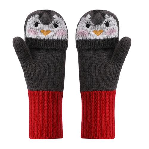 Оптовые вязаные детские шапочки, перчатки и шарф с милым дизайном в виде пингвинов