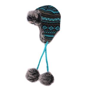 OEM женские вязаные ушанки оптом шапка из искусственного меха вязаная шапка теплый снег лыжный траппер анти-пиллинг шапка