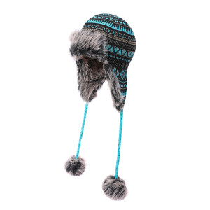 OEM ladies knitted  Earflap wholesale Hat Faux Fur Knit Hat Warm Snow Ski Trapper anti-pilling Hat