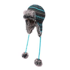 OEM dames tricoté Earflap gros chapeau fausse fourrure tricot chapeau chaud neige ski trappeur chapeau anti-boulochage