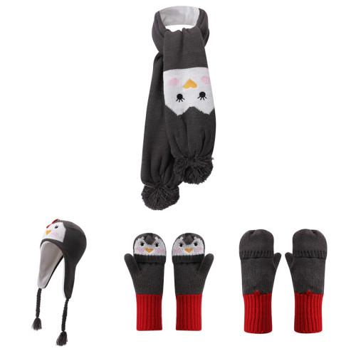 Conjunto de bufanda y guantes de gorro de bebé de punto al por mayor con diseño de pingüino lindo