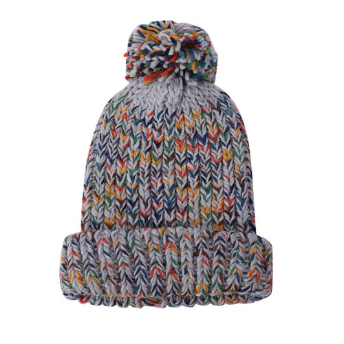 OEM женская вязаная Зимняя вязаная шапка оптом Шапка-бини с помпоном Толстая теплая шапка с защитой от катышков