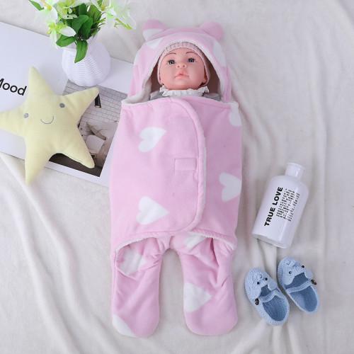 Оптовый милый вязаный детский спальный мешок с антипиллингом для новорожденных, плюшевый пеленок с принтом в виде сердца