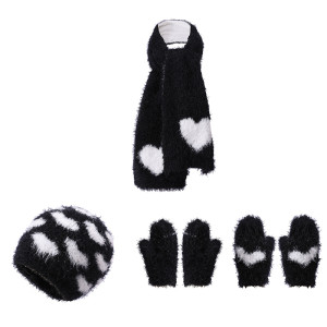 OEM Knit Baby Hat Gloves and Scarf Set With Heart Pattern From Chinese Supplier