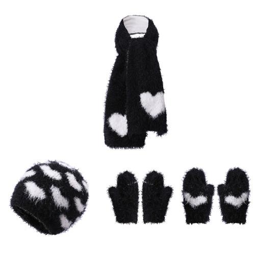 Ensemble de gants et écharpe de chapeau de bébé en tricot OEM avec motif de coeur du fournisseur chinois