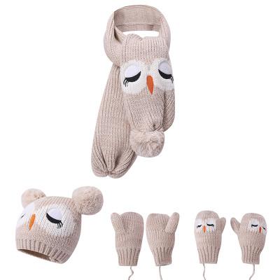 Venta al por mayor de bebé sombrero bufanda guantes invierno cálido conjunto de 3 piezas