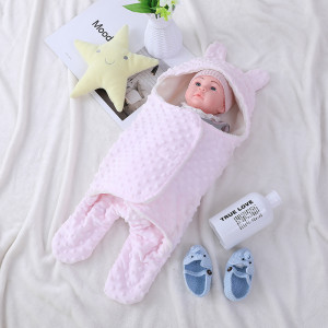 OEM Cute Newborn Knitted Recyclable Baby Sleeping Bag Wholesale Sweet Swaddle With  Fleece Sherpa