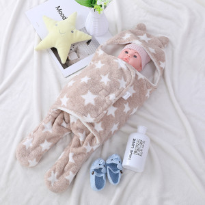 Wholesale Cute Newborn Recyclable Knitted Baby Sleeping Bag Swaddle Wrap With Printed Star Pattern