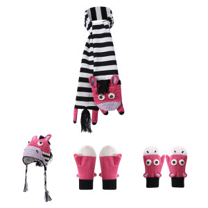 ODM Accessories Wholesale Knitted  Baby Hat Scarf Gloves Set With Zebra Pattern