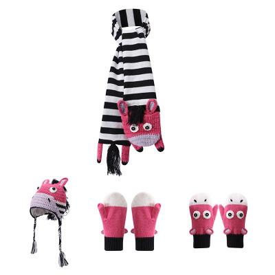 Аксессуары ODM оптом вязаные детские шапки шарф перчатки с рисунком зебры