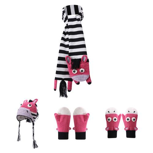 Los accesorios del ODM venden al por mayor los guantes hechos punto de la bufanda del sombrero del bebé fijados con el modelo de la cebra