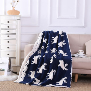 ODM Moose Pattern Sherpa Wholesale Throw Reversible Warm Cozy Knitted Blanket