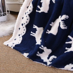 ODM Moose Pattern Sherpa Оптовая пледы двустороннее теплое уютное вязаное одеяло