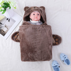 OEM Baby Blankets Recyclable Wholesale Flannel Fleece with hood,cute design with bear face