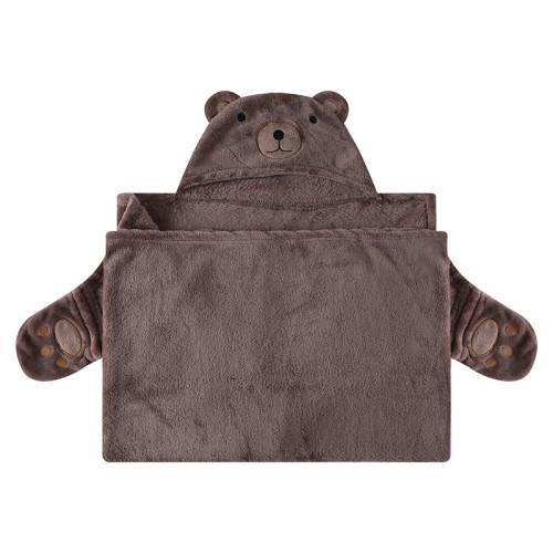 Детские одеяла OEM, пригодные для вторичного использования, оптовая продажа, фланелевый флис с капюшоном, симпатичный дизайн с лицом медведя