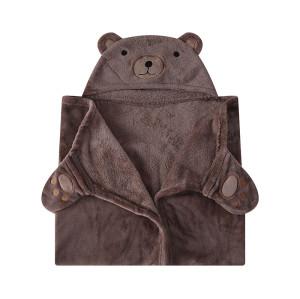 Paño grueso y suave de la franela al por mayor reciclable de las mantas del bebé del OEM con la capilla, diseño lindo con la cara del oso