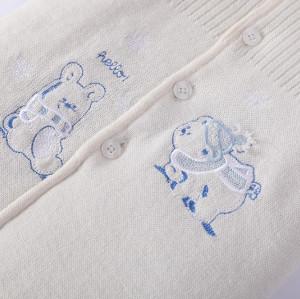 Saco de dormir hecho punto bebé recién nacido al por mayor Anti-pilling con capucha, cuerpo con bordado y botón