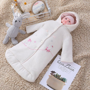 Wholesale Newborn Knitted BabyGirl Sleeping Bag Anti-pilling With Hood,body with Button and  Embroidery Design
