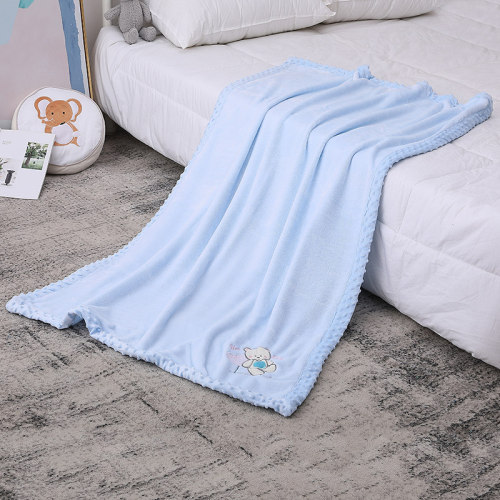 Flannel Wholesale Baby Blanket, Recyclable Raised Dots Pattern Blanket with Embroidery
