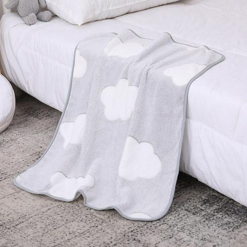 Tissu recyclable en gros de couverture de bébé tricotée par Fannel doux de nuages gris pour le meilleur confort