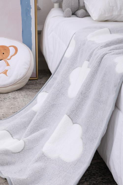 Tela reciclable al por mayor hecha punto Fannel suave de la manta del bebé de las nubes grises para la mejor comodidad