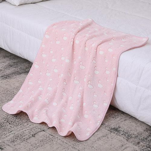 Manta reciclable de la niña al por mayor linda de la franela del OEM, modelo impreso con el cisne