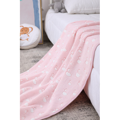 OEM Cute Flannel Wholesale Recyclable Baby girl Blanket, Printed Pattern With Swan