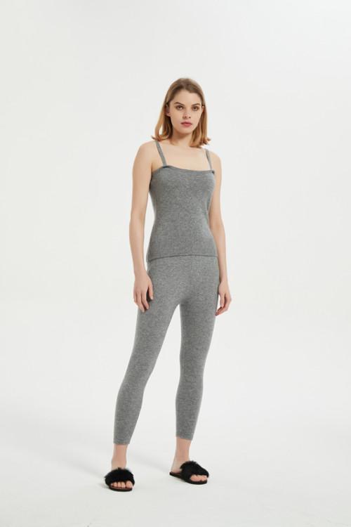 Pijama sin mangas de punto de algodón para mujer