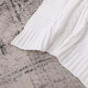 Оптовое детское одеяло премиум-класса из 100% органического хлопка, трикотажное изделие с белой текстурой