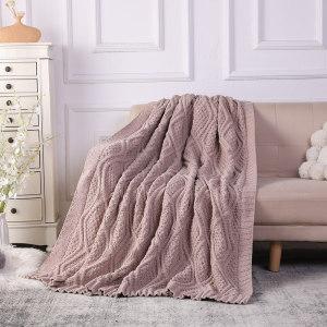 Wholesale Super Cozy 100% Ployester Recyclable Knit Blanket