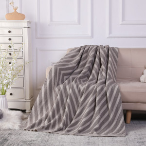 Custom Chenille Knit Super Soft Velvety Texture Recycled Throw Blanket From Chinese Factory