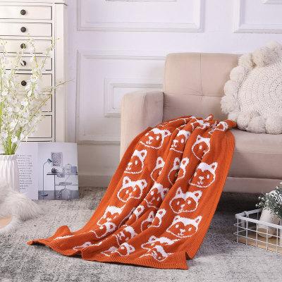 Manta tejida reciclada del tiro al por mayor con el modelo del zorro, manta superior del paño grueso y suave de Sherpa