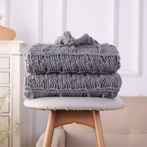 Mantas decorativas de tejido de cable de encargo para sofá, suaves y acogedoras y lavables a máquina