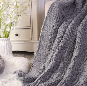 Custom Cable Knit Decorative Throw Blankets for Couch, Soft Cozy And Machine Washable