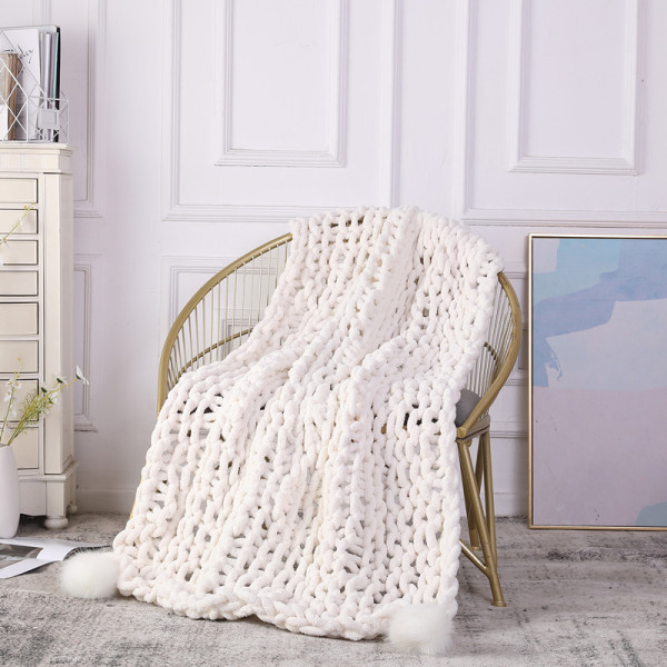 Wholesale Chunky Knit Blanket Bulky Throw Hand Made Blanket Super Large