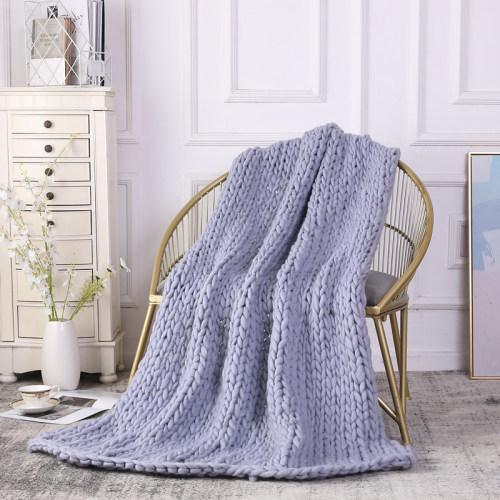 Venta al por mayor 100% manta gruesa hecha a mano manta ponderada de punto para su cama, sofá, dormitorio o sala de estar