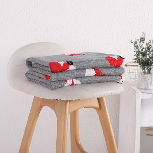 OEM 100% algodón orgánico hecho punto manta de bebé manta envolvente para bebé recién nacido con patrón de zorro lindo