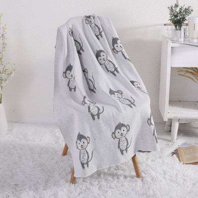 Manta de bebé al por mayor de punto 100% algodón orgánico mantas para niños pequeños para niños y niñas con Lovely Monkey