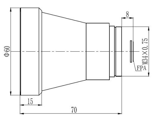 Optical thermal LWIR lens 60mm f/1.2