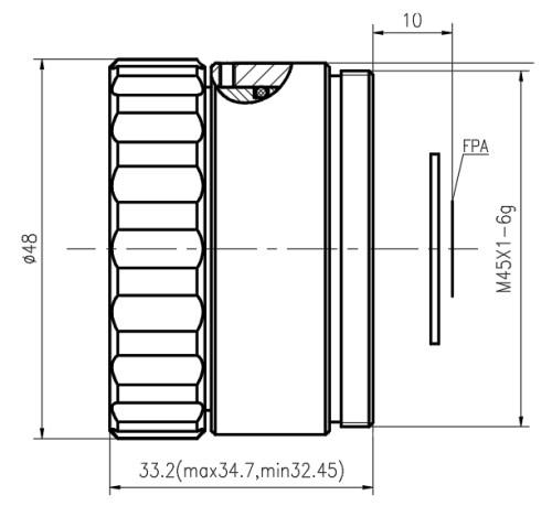 Manual focus lwir lens 25mm f/1.0 (HD)