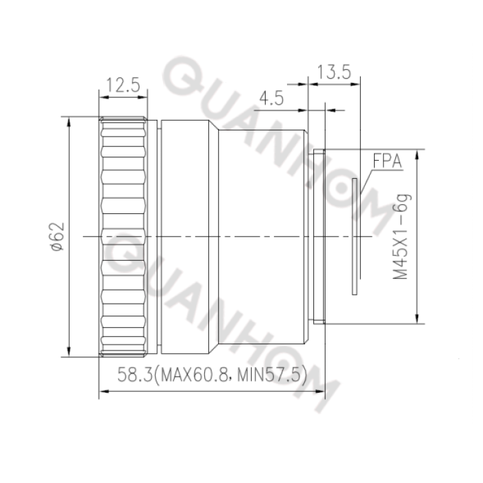 Manual focus lwir lens 50mm f/1.0 (HD)