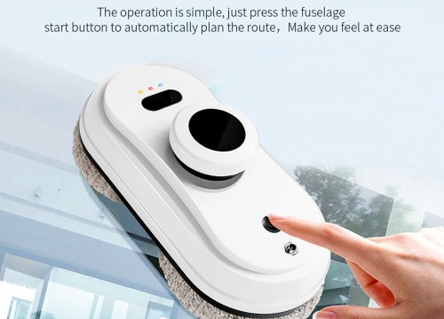 Round high-efficiency robot for household window cleaning